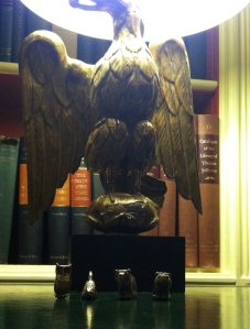 Under an Eagle lamp in The White House Library!