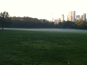 Foggy Sheep's Meadow in Central Park.