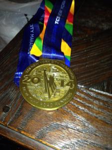 SLR's marathon medal!! She rocked it!