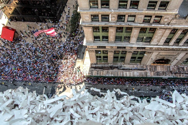 Unbelievable view of parade and ticker tape!  Photo credit:EE